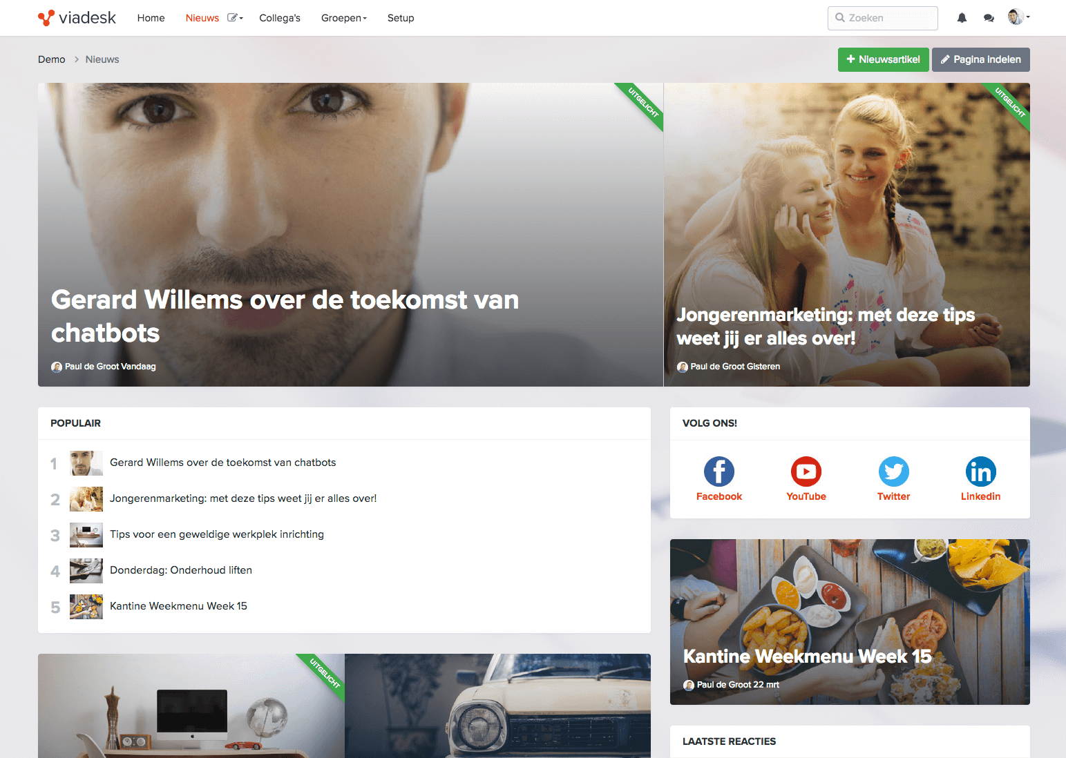 Screenshot van de nieuwsmodule in Viadesk social intranet