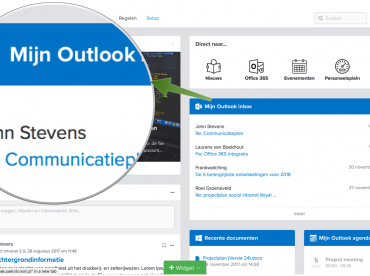 Screenshot van de Office 365 koppeling in Viadesk's intranet software